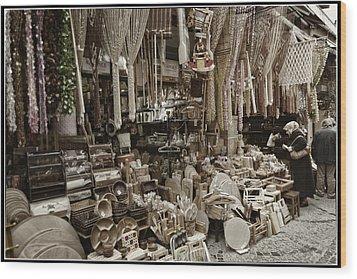 Old World Market Wood Print by Joan Carroll