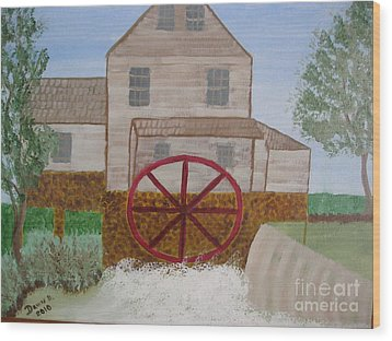 Ole' Grist Mill Wood Print by Dawn Harrold