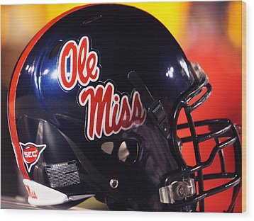 Ole Miss Football Helmet Wood Print by University of Mississippi