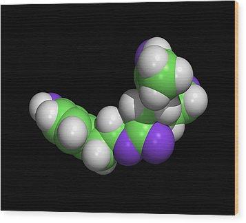 Oleocanthal Olive Oil Molecule Wood Print by Dr Tim Evans