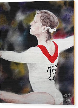 Olga Korbut Performing At The 1972 Summer Olympics In Munich Wood Print by Jim Fitzpatrick