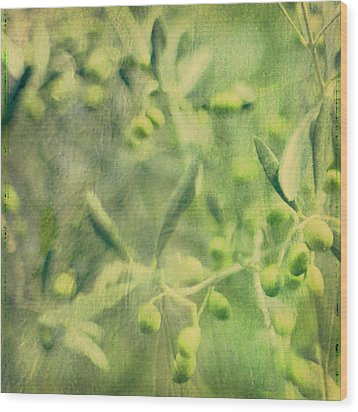 Olive And Leaf Wood Print by Linde Townsend
