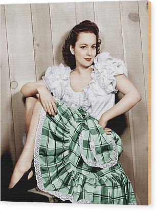 Olivia De Havilland, Ca. 1948 Wood Print by Everett