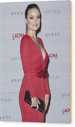 Olivia Wilde Wearing A Gucci Dress Wood Print by Everett