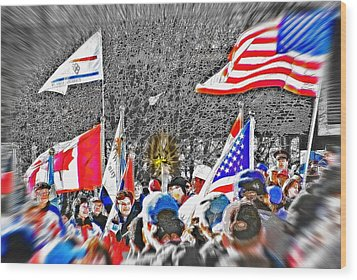 Olympic Torch Rally Snapshot - Slc 2002 Wood Print by Steve Ohlsen