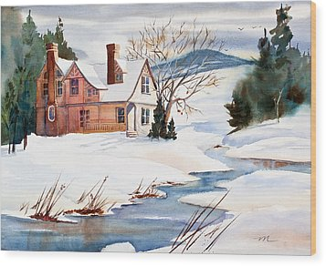 On A Winters Day Watercolor Painting Wood Print by Michelle Wiarda
