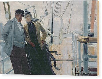 On Deck Wood Print by Louis Anet Sabatier