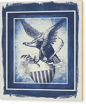 On Eagles Wings Blue Wood Print by Angelina Vick