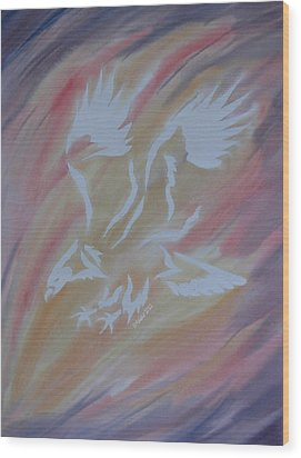 On Eagles Wings Wood Print by Mark Schutter