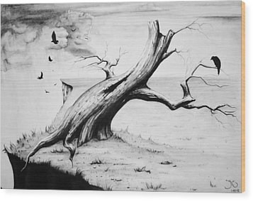 On Edge Wood Print by Suzanne Roach