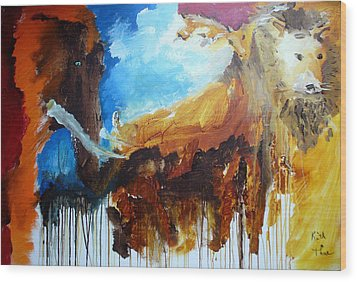 Wood Print featuring the painting On Safari by Keith Thue
