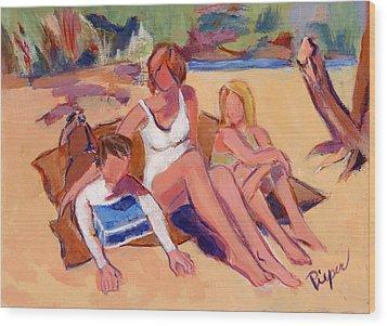 On The Beach Wood Print by Elzbieta Zemaitis