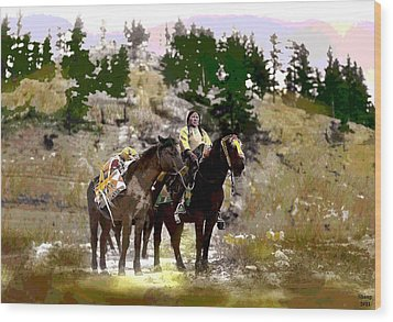 Wood Print featuring the mixed media On The Move by Charles Shoup