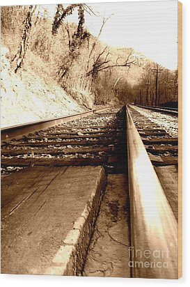 On The Rail Wood Print by Amy Sorrell