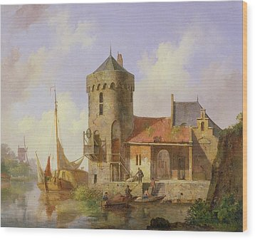 On The Rhine Wood Print by Cornelius Springer