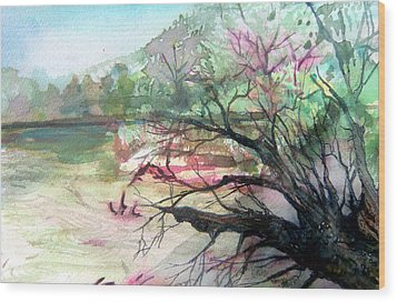 On The River Wood Print by Mindy Newman