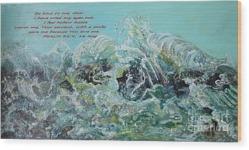 Wood Print featuring the painting On The Rocks by Rita Brown