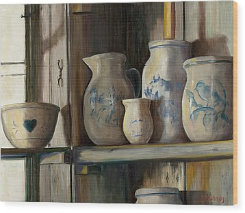 On The Shelf Wood Print by Sheila Kinsey