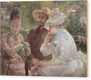 On The Terrace At Sevres Wood Print by Marie Bracquemond
