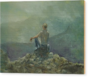 On The Top Of The Rockpile Wood Print by Aline Lotter