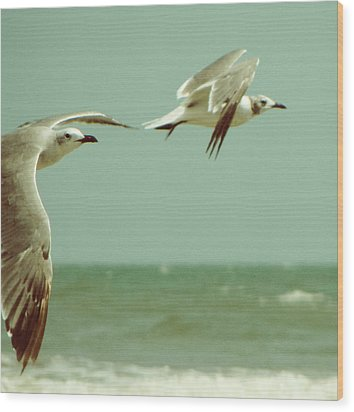 On The Wings Of A Seagull Wood Print