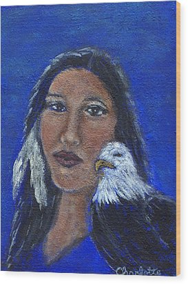 Onawa Native American Woman Of Wisdom Wood Print by The Art With A Heart By Charlotte Phillips