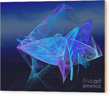One Fish Blue Fish Wood Print by Andee Design