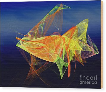 One Fish Rainbow Fish Wood Print by Andee Design
