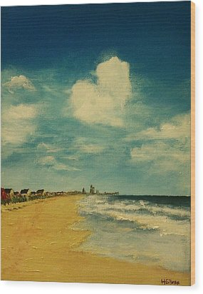 One Heart Over The Beach Wood Print by Heather  Gillmer