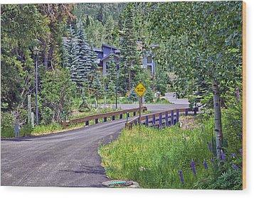 One Lane Bridge - Vail Wood Print by Madeline Ellis