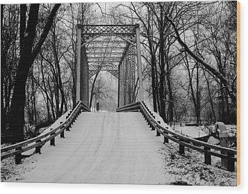 One Lane Bridge In Snow Wood Print