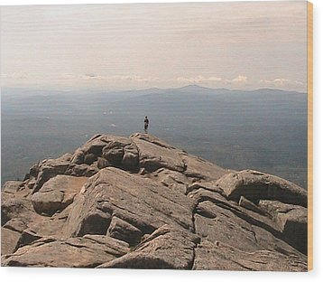 One Man Standing On Top Of The World Wood Print by Rachel Snell