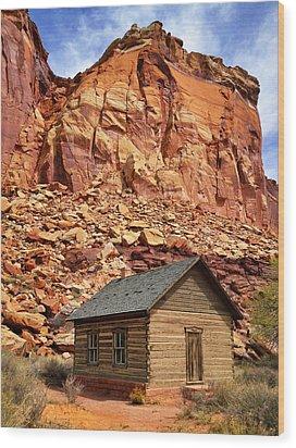 One Room Log School House, Fruita Wood Print by Royce Bair