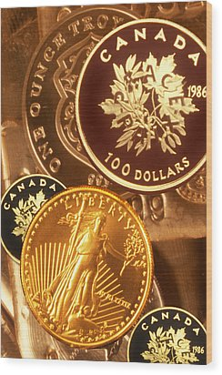 One Troy Ounce Us And Canadian Gold Coins Wood Print by Lyle Leduc