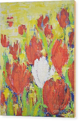 Wood Print featuring the painting One White Tulip by Kathleen Pio
