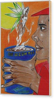 One Wish Tea Wood Print by Lorenzo Depluzer
