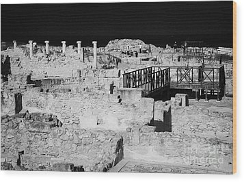 Ongoing Archeological Dig At The House Of Dionysos Roman Villa At Paphos Archeological Park Cyprus Wood Print by Joe Fox