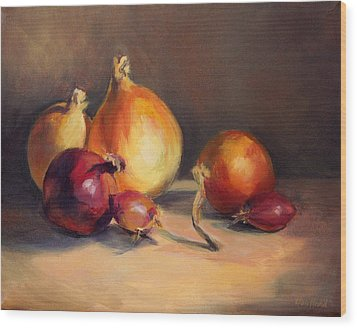 Wood Print featuring the painting Onions Etc. by Vikki Bouffard