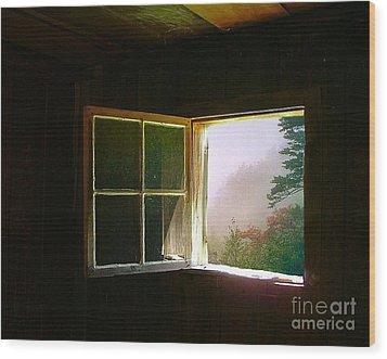 Open Cabin Window In Spring Wood Print by Julie Dant