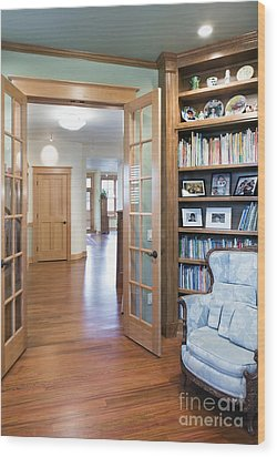 Open French Doors And Home Library Wood Print by Andersen Ross