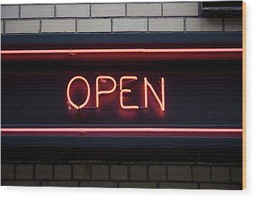 Open Neon Sign Wood Print by Frederick Bass