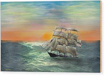 Open Seas Wood Print by Diane Haas