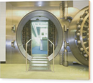 Open Vault At A Bank Wood Print by Adam Crowley