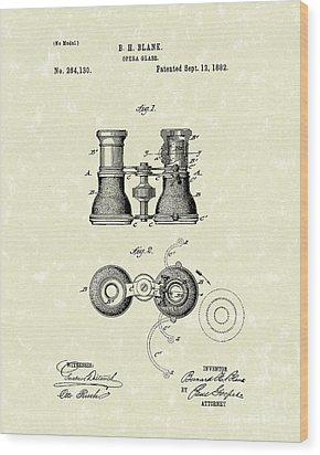 Opera Glass 1882 Patent Art Wood Print by Prior Art Design