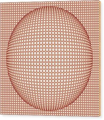 Optical Illusion Orange Ball Wood Print by Sumit Mehndiratta