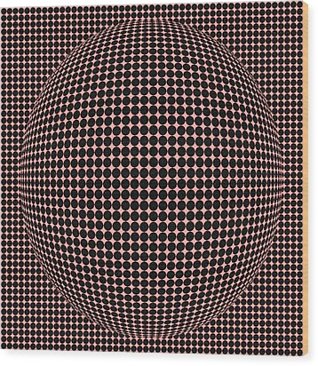 Optical Illusion Red Ball  Wood Print by Sumit Mehndiratta