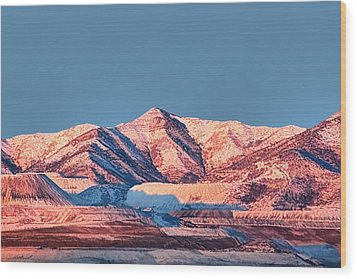 Oquirrh Mountains Utah First Snow Wood Print by Tracie Kaska