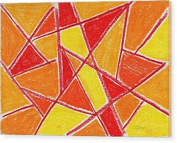 Orange Abstract Wood Print by Hakon Soreide