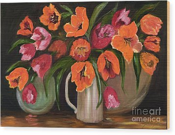 Orange And Red Tulips Wood Print