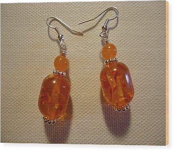 Orange Ball Drop Earrings Wood Print by Jenna Green